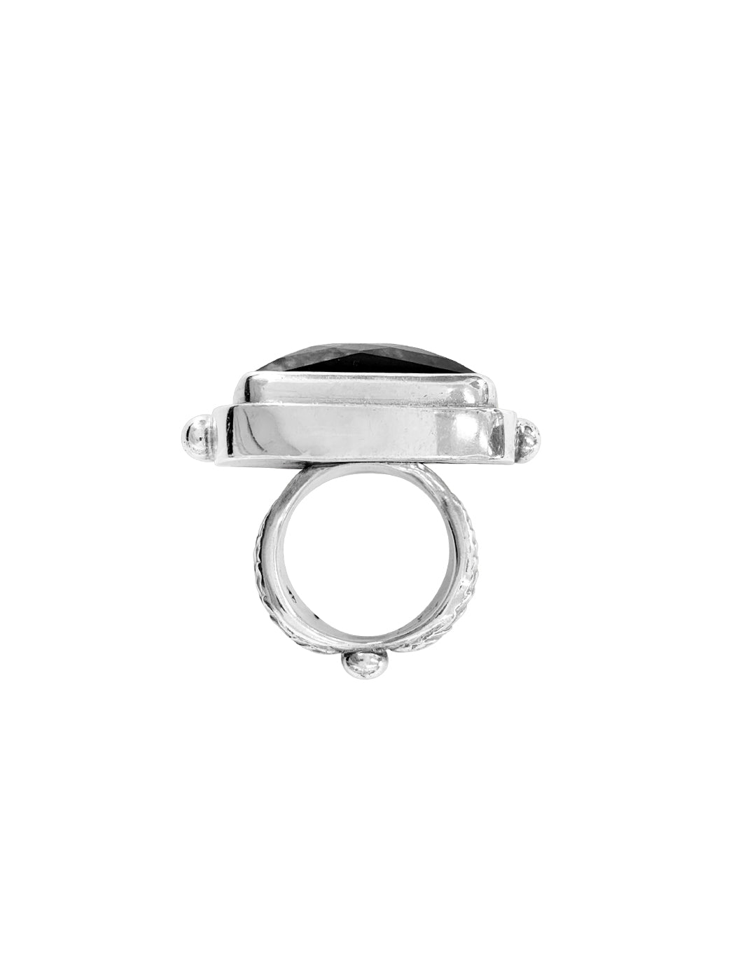 Fiorina Jewellery Rectangle Cocktail Ring Black Onyx Side View