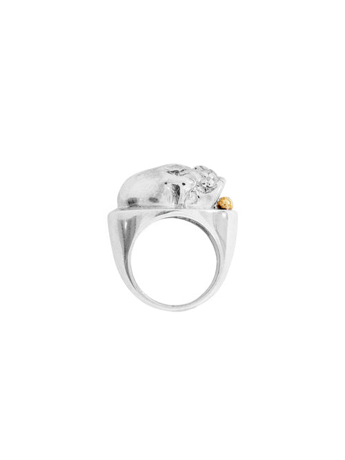Fiorina Jewellery Men's Silver Skull Ring Side View