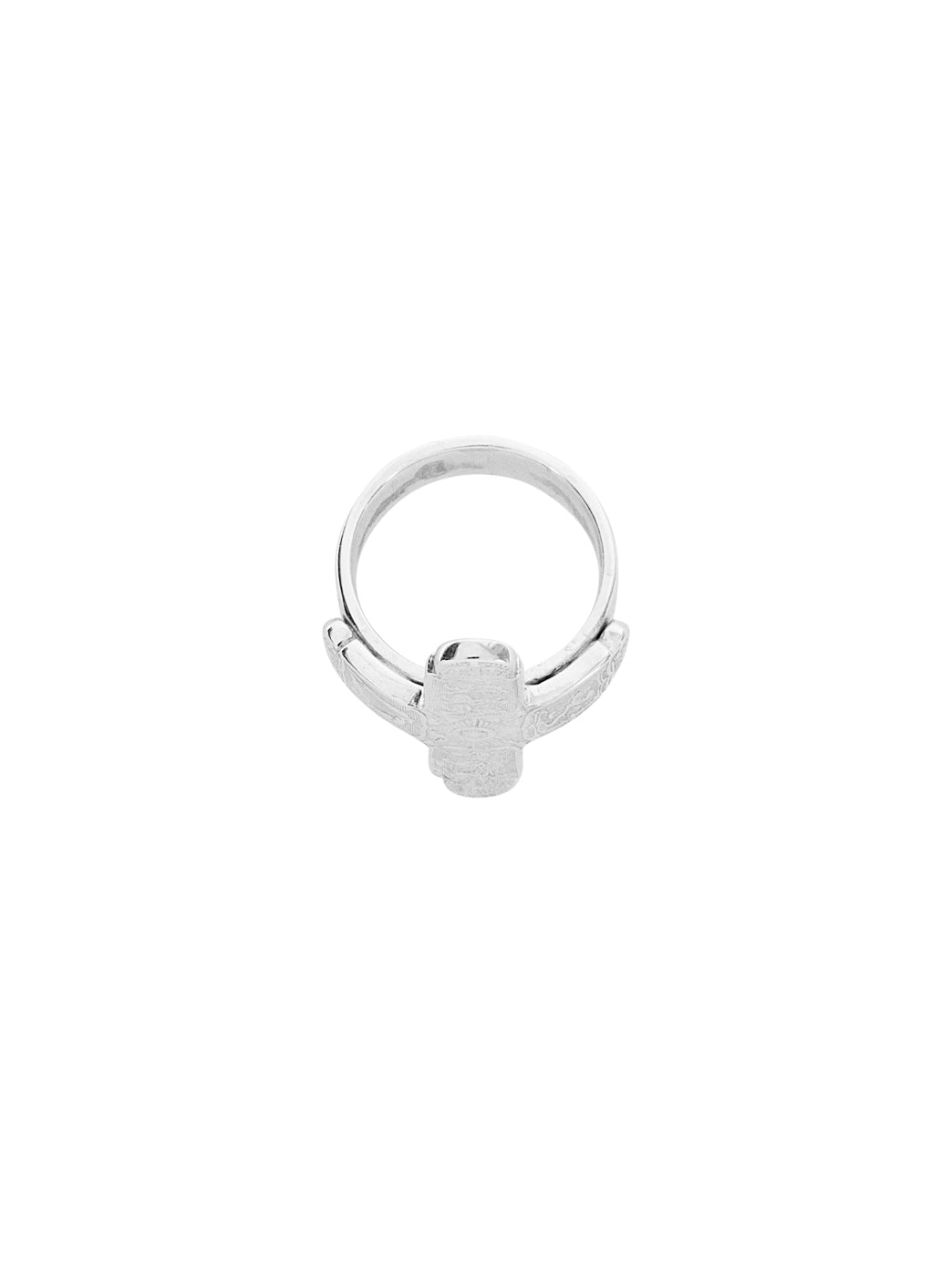 Fiorina Jewellery Men's Small Coin Cross Ring Top View