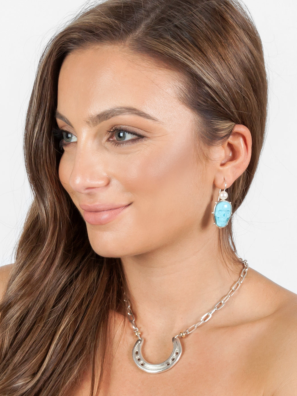Fiorina Jewellery Turquoise Skull Earrings
