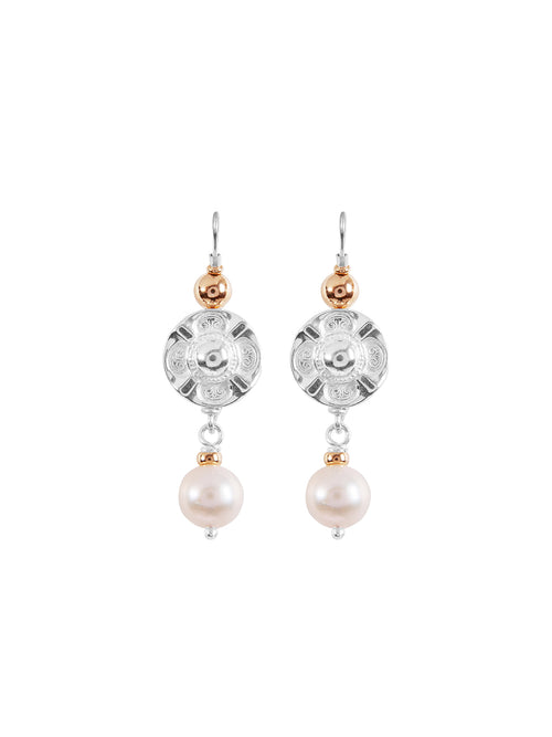 Fiorina Jewellery Vic Disc Pearl Drop Earrings