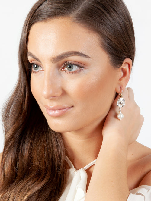 Fiorina Jewellery Vic Disc Pearl Drop Earrings Model