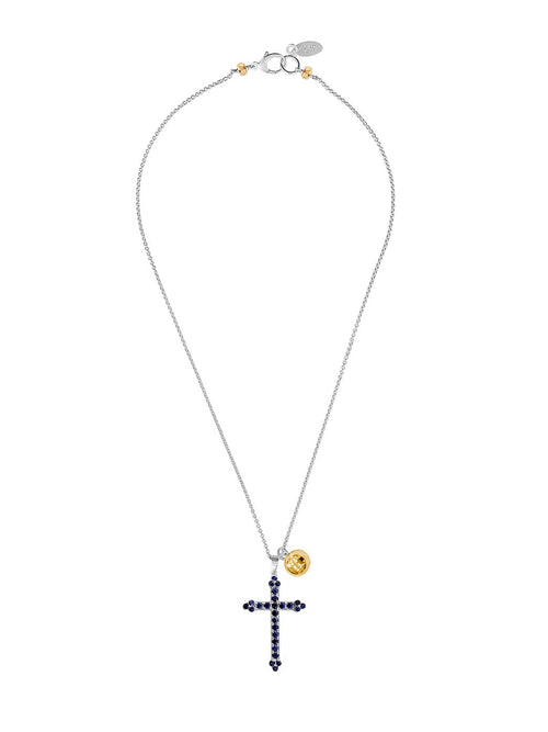 Fiorina Jewellery Victoria Cross Necklace Blue Sapphire