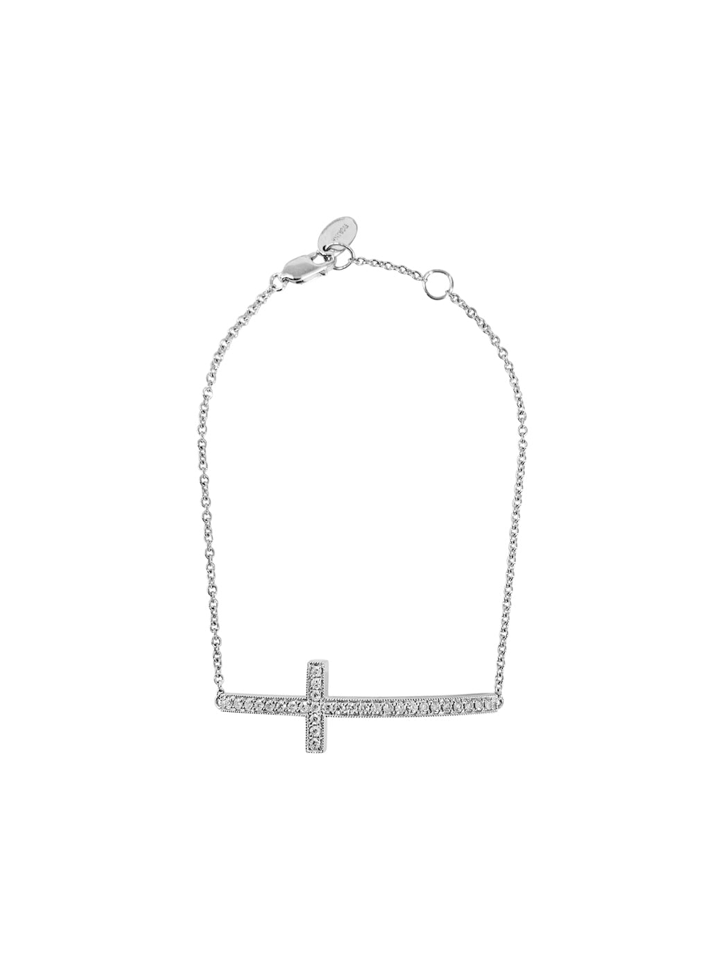 Fiorina Jewellery Diamond Side Cross White Gold Bracelet