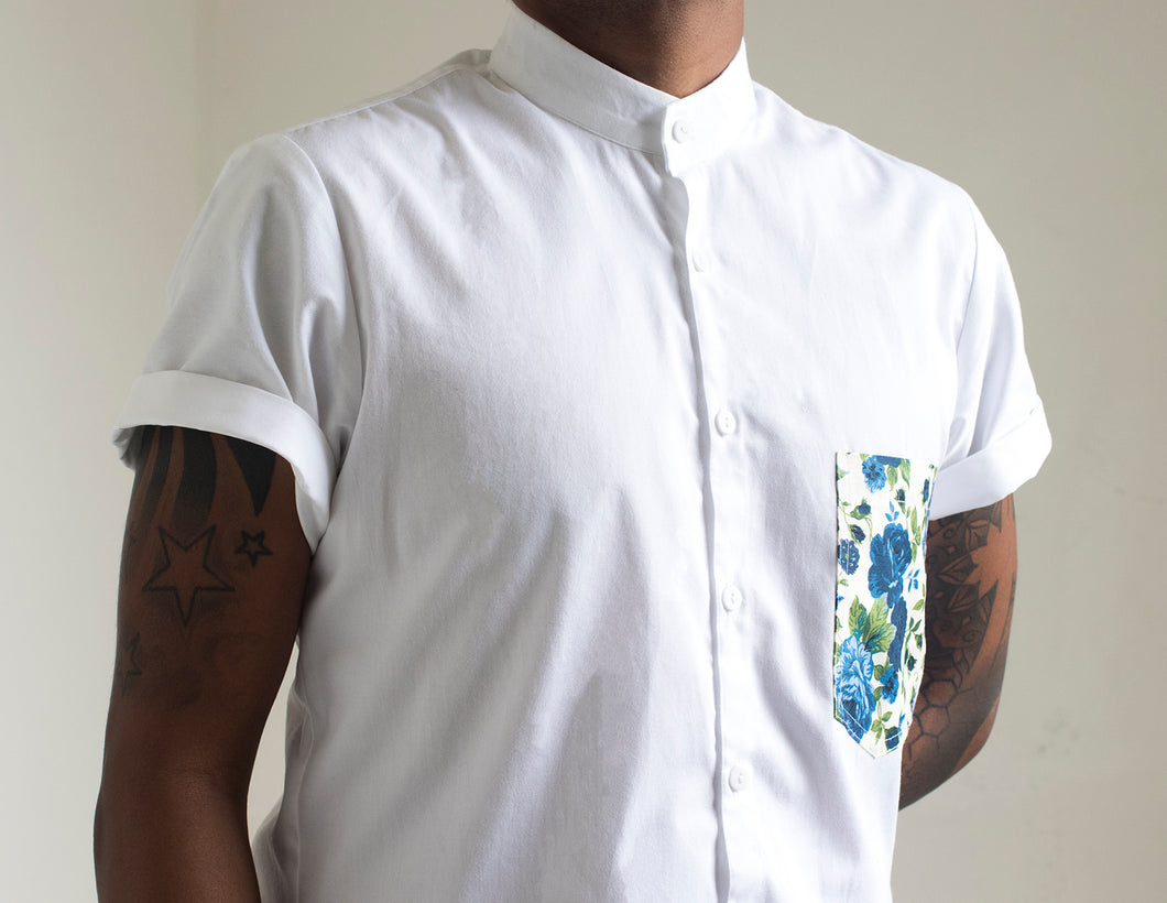 White + Floral Pocket Shirt