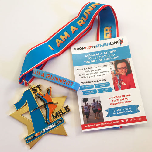 Run Your First Mile medal, wristband and training program gift card