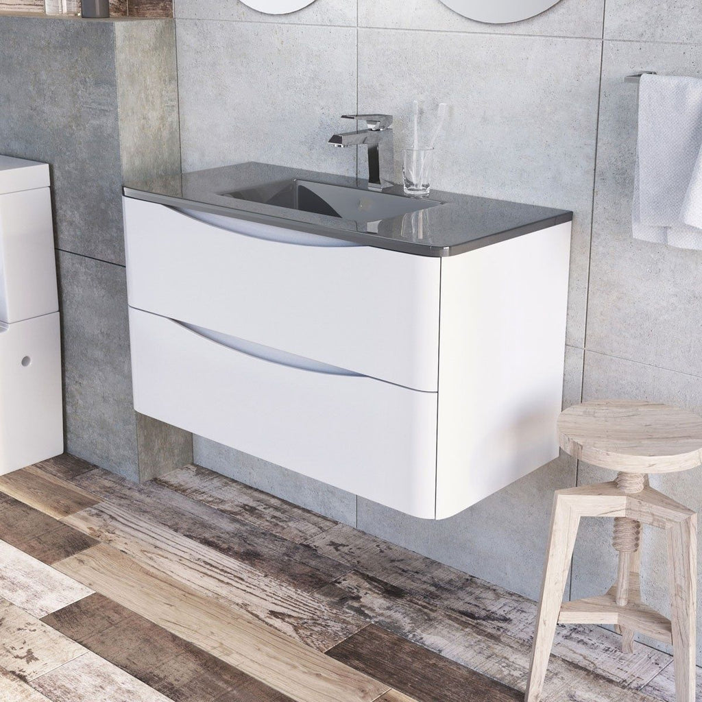 Cube 900mm White Gloss Wall Mounted Vanity Unit & Dark Grey Glass Basin
