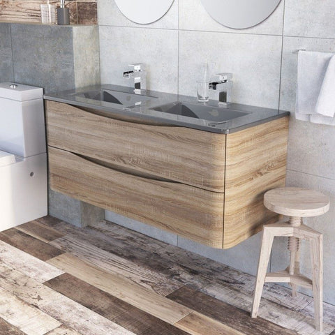 Cube 1200mm Light Oak Wall Mounted Vanity Unit & Dark Grey Glass Basin