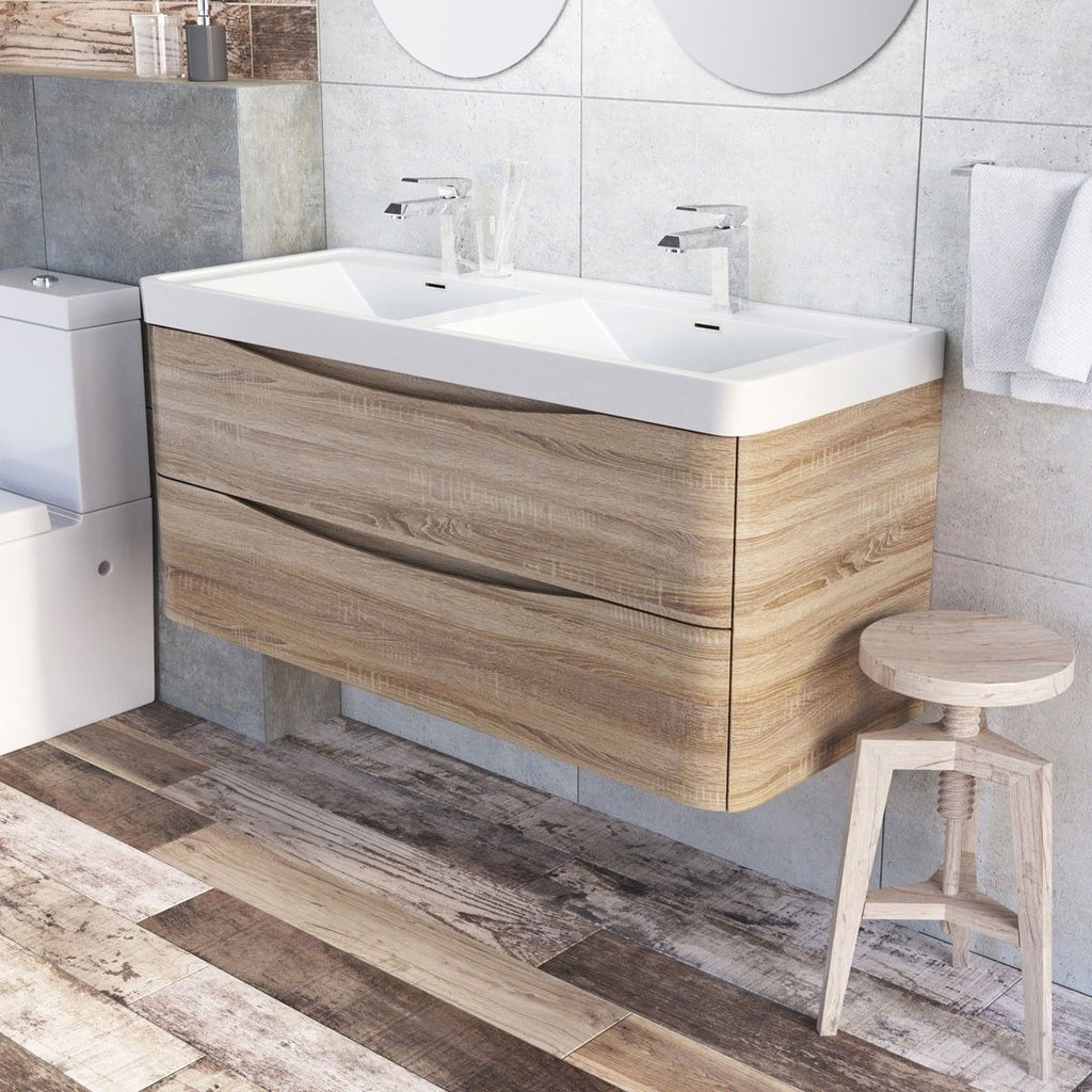 Cube 1200mm Light Oak Wall Mounted Vanity Unit with Double White Resin Basin