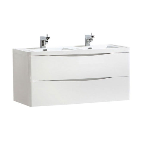 Cube 1200mm White Gloss Wall Mounted Vanity Unit with White Resin Basin