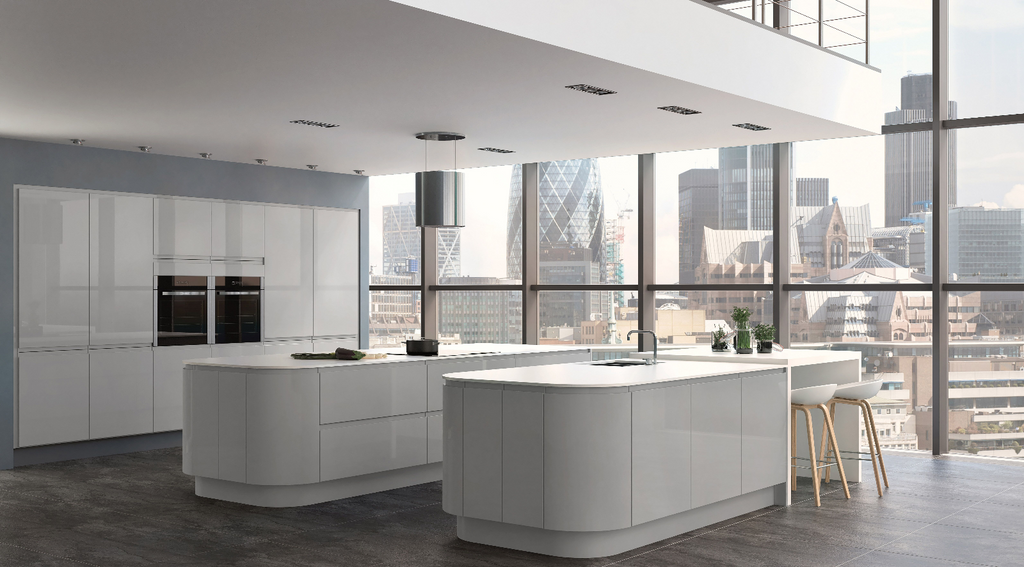 7 Piece Kitchen Units - Lacquered Gloss Grey - 18mm -Rigid Built J Handle