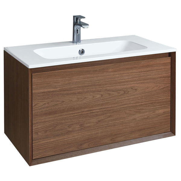Enzo 81 Unit and Solid Surface Basin - Nilo, White, Walnut or Taiga