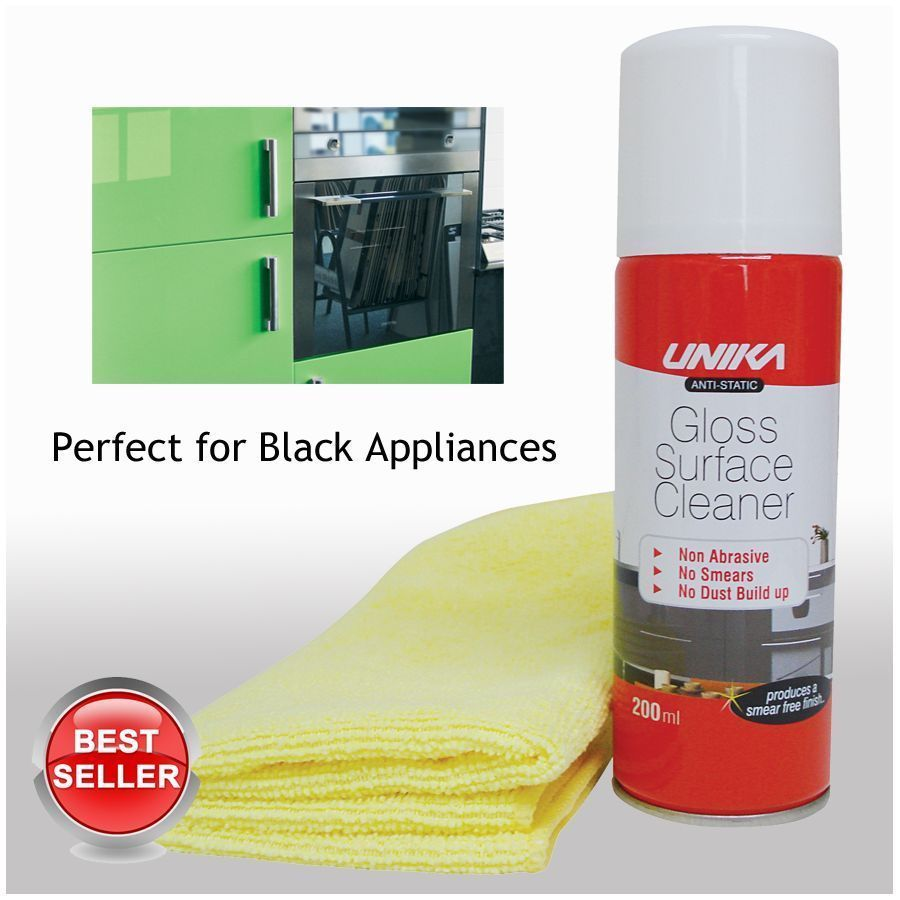 2 x Unika Anti-Static Gloss Surface Cleaner + Cloth - Kitchens, Windows, TV