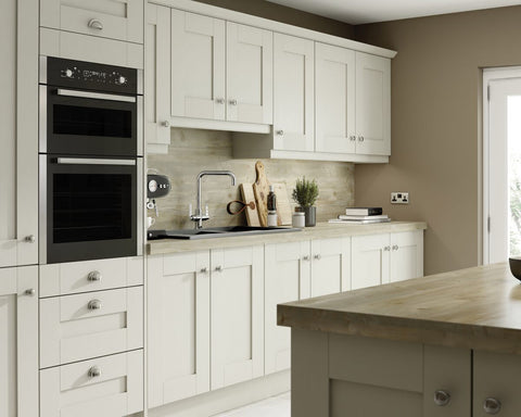 7 Piece Kitchen Units - Ivory Textured Shaker Style 22mm Door Rigid Built