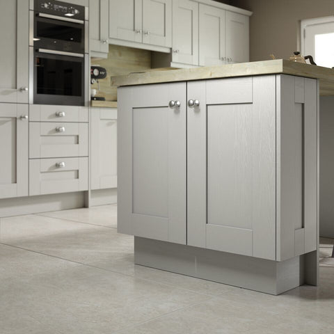 7 Piece Kitchen Units - Light Grey Textured Shaker Style 22mm Door Rigid Built