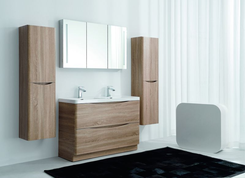 Cube 1200mm Light Oak Floor Mounted Vanity Unit with White Resin Basin