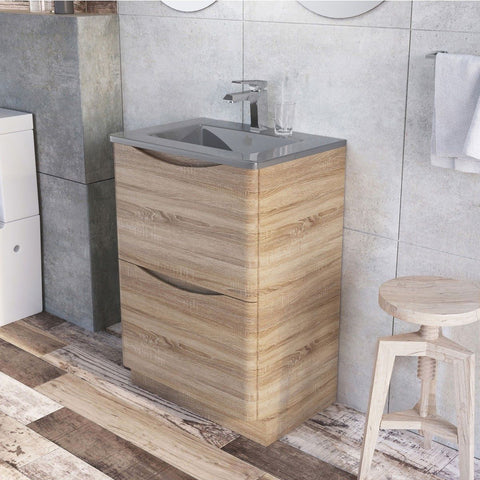 Cube Floor Mounted 600mm Vanity Unit Light Oak with Dark Grey Glass Basin