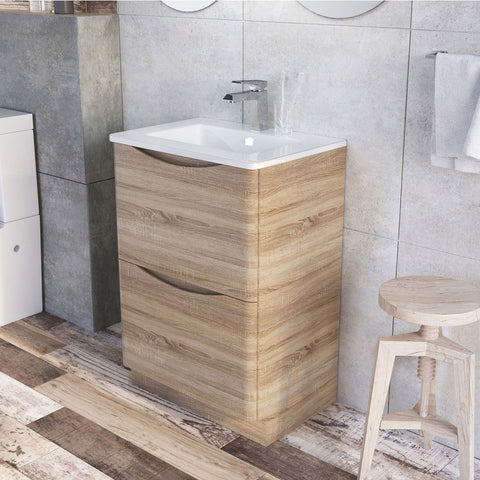 Cube Floor Mounted 600mm Vanity Unit Light Oak with White Glass Basin