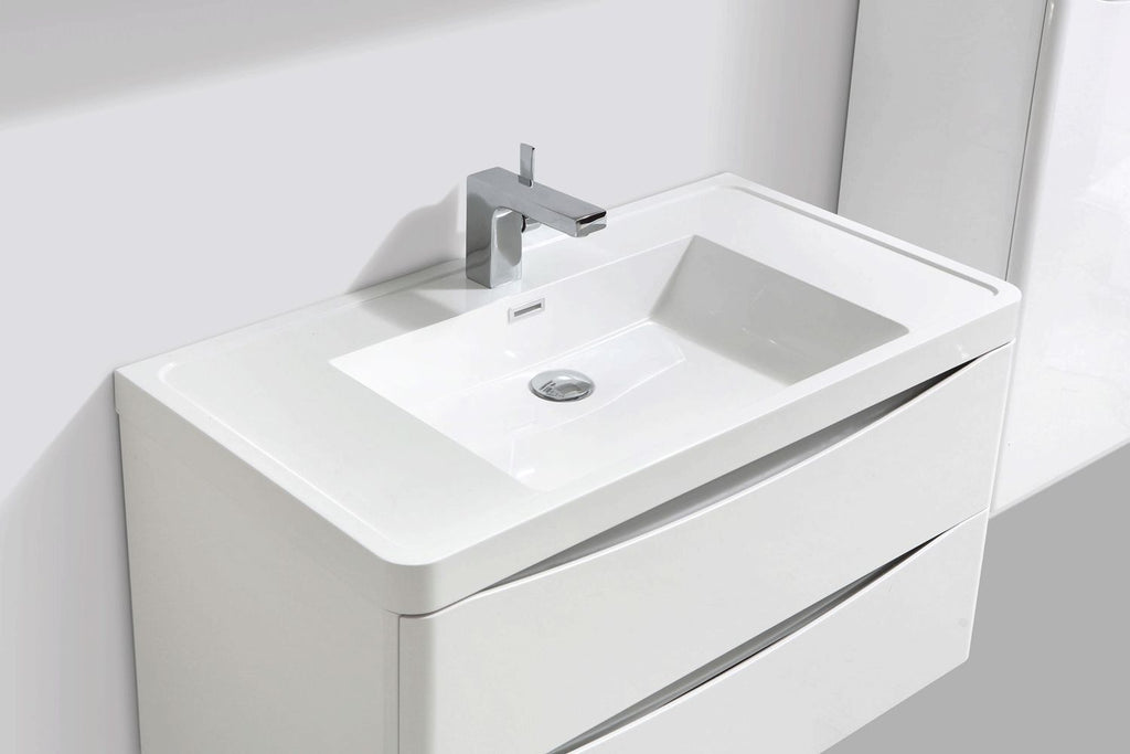 Cube 900mm White Gloss Wall Mounted Vanity Unit with White Resin Basin