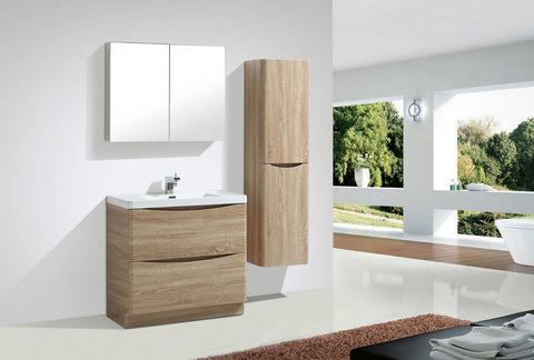 Cube 900mm Light Oak Floor Mounted Vanity Unit With White Resin Basin