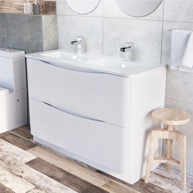 Cube 1200mm White Gloss Wall Mounted Vanity Unit & Opal White Glass Basin