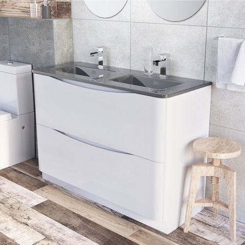 Cube 1200mm White Gloss Floor Mounted Vanity Unit & Dark Grey Glass Basin