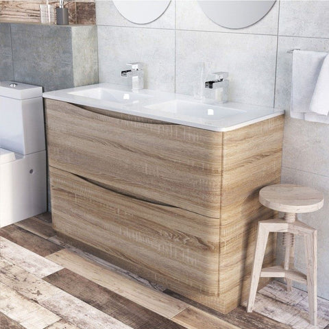 Cube 1200mm Floor Mounte Vanity Unit Light Oak & Opal White Glass Basin