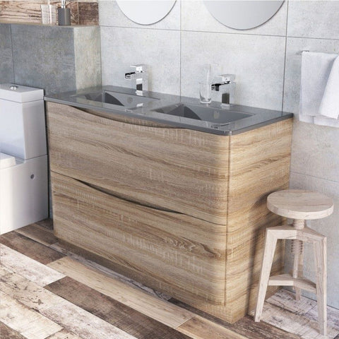 Cube 1200mm Light Oak Floor Mounted Vanity Unit & Dark Grey Glass Basin