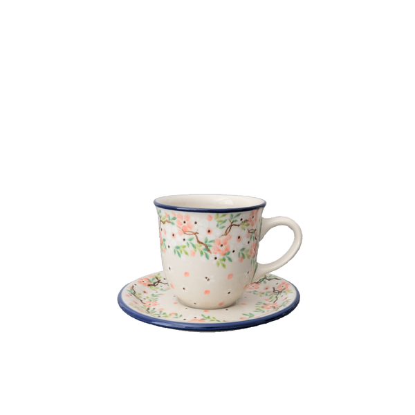 Boleslawiec Handmade Ceramic Coffee Cup And Saucer  7oz