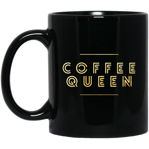 """Coffee Queen"" 11 oz. Black Mug"