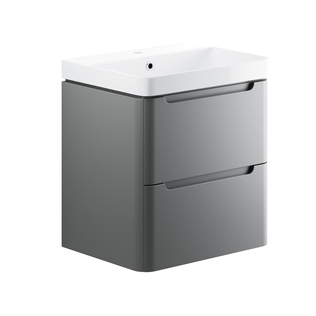 Lambra 600mm Wall Hung Cloakroom Vanity Unit & Basin
