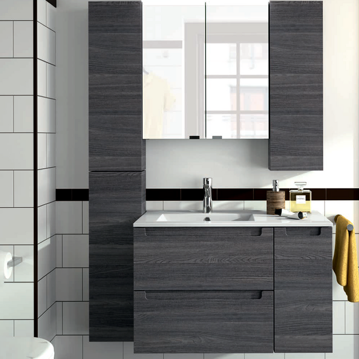 Monterrey Alsacia Wall Hung Unit, Side Cupboard and Full Basin