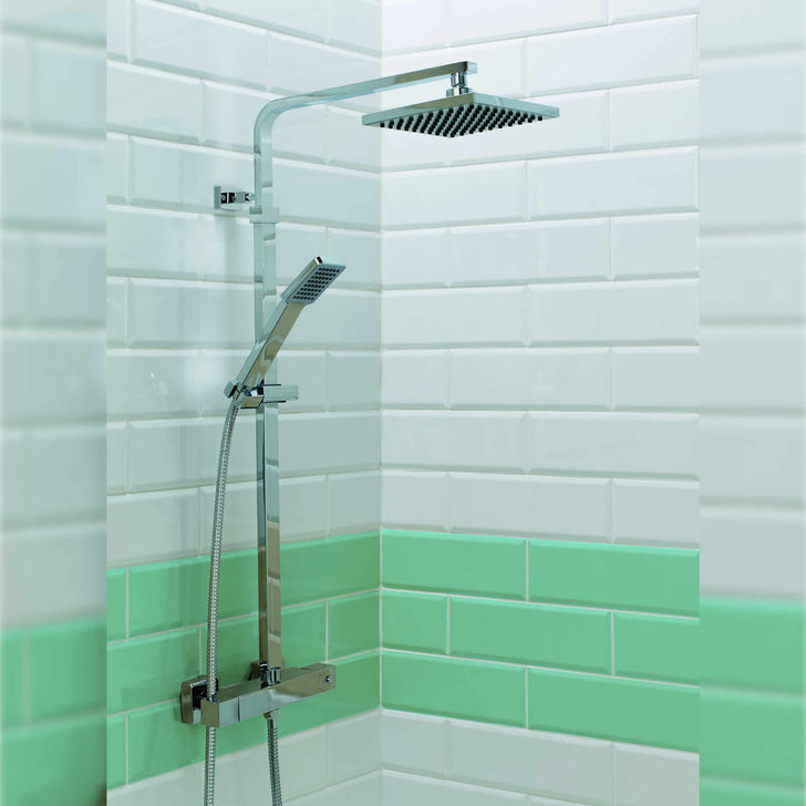 Orkney Series 2 Exposed Thermostatic Shower Valve & Square Head With Fixed Rail Kit