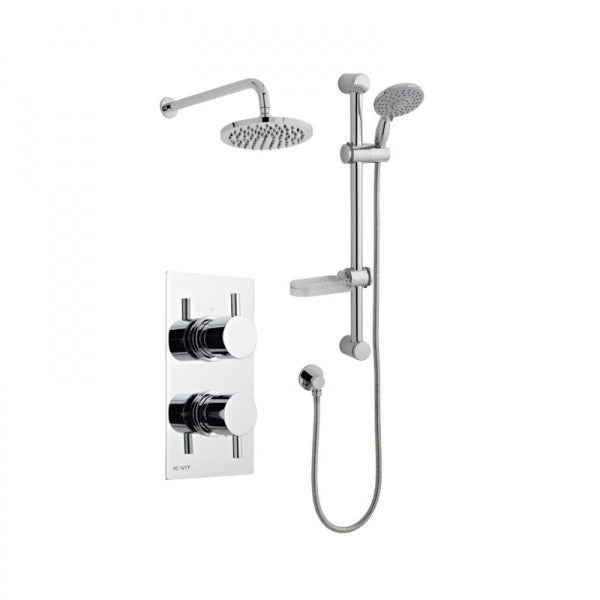 Plan Thermostatic Concealed Shower Valve with Fixed Rain Head & Riser Rail
