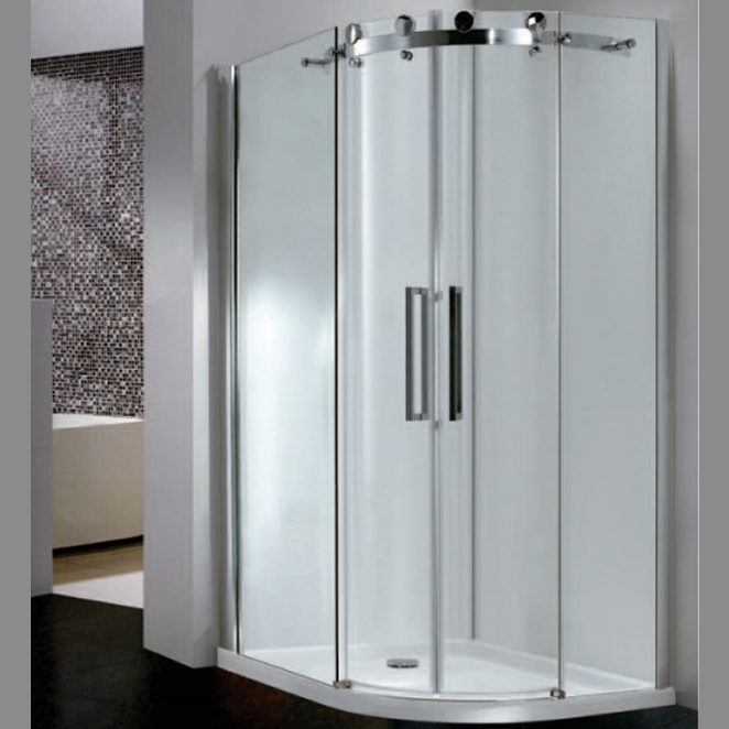 City Frameless DB Twin Door Equal Offset Quadrant