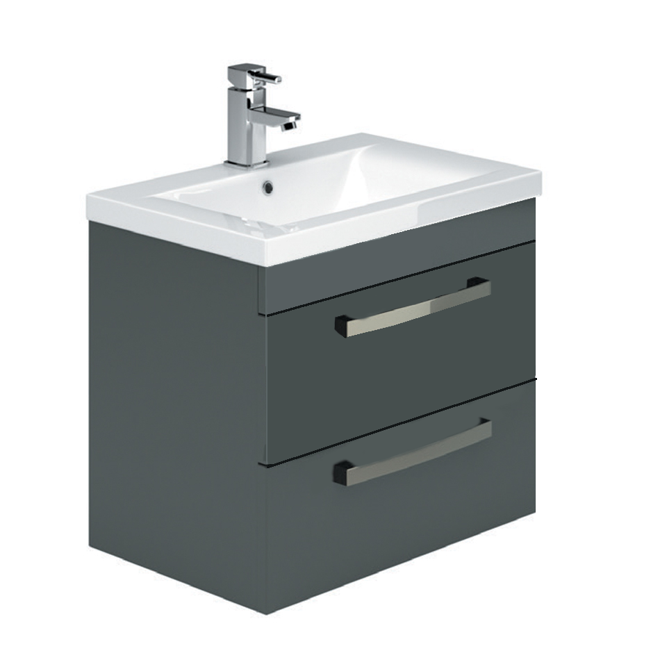 Maynar Metallic 2 Drawer Wall Hung Vanity Unit & Basin