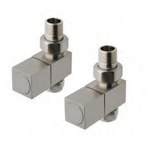 Straight Square Nickel Radiator Valves (Pair)
