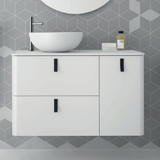Uniiq Matt White Wall Hung Unit & Countertop with Matt White Bowl