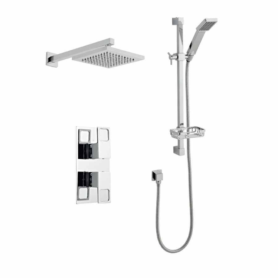 Kourt Concealed Thermostatic Shower with Adjustable Slide Rail Kit & Overhead Drencher