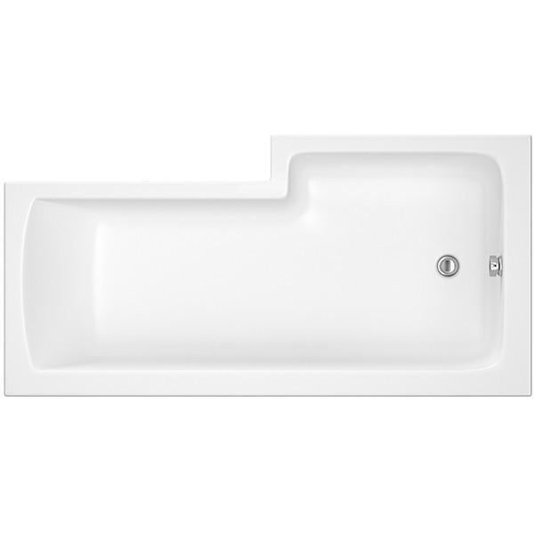 L Shaped Square Shower Bath - 1500, 1600, 1700mm