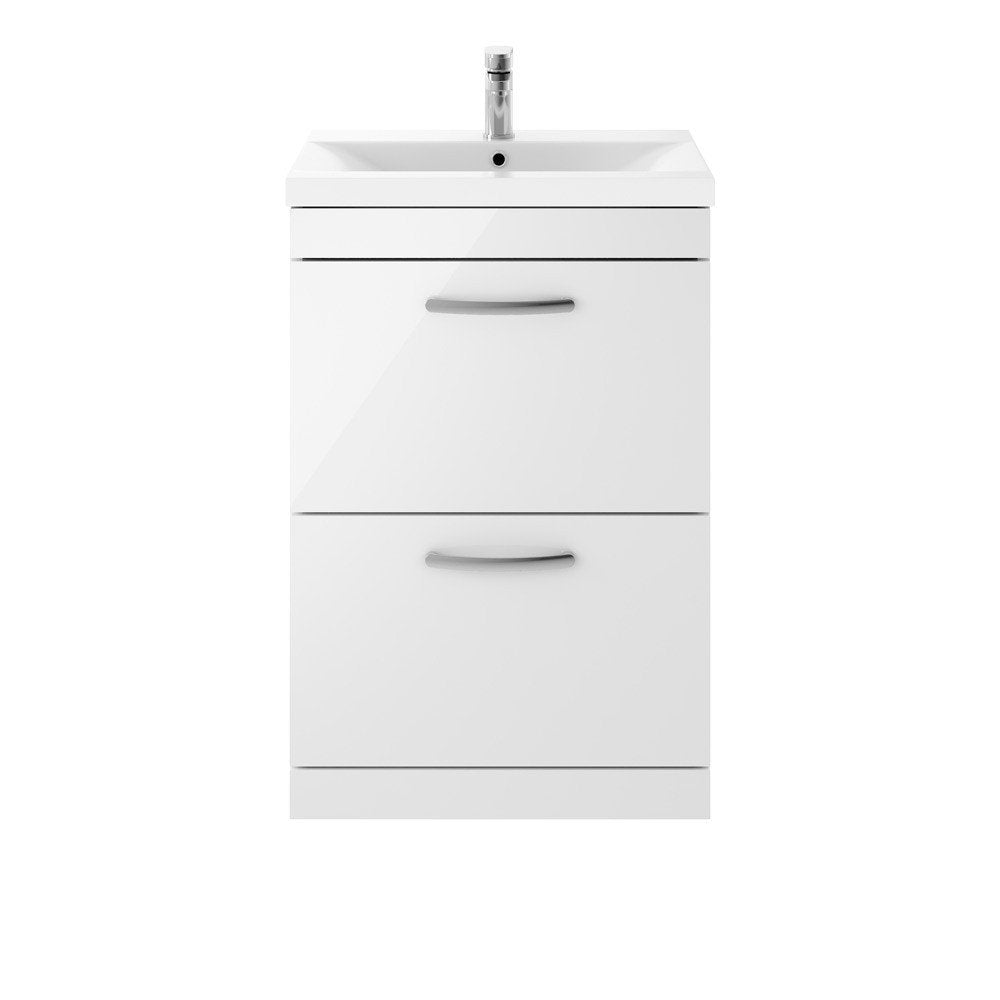 Athena 2 Drawer 600mm Floor Standing Vanity Unit & Basin