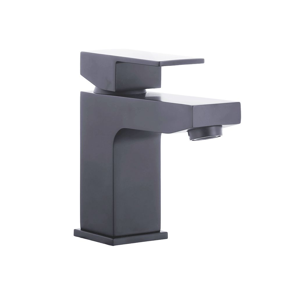 Kawa Single Lever Black Mono Basin Mixer (No Waste)