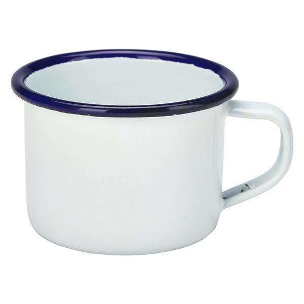 Enamel Mug White With Blue Rim 12cl/4.2oz