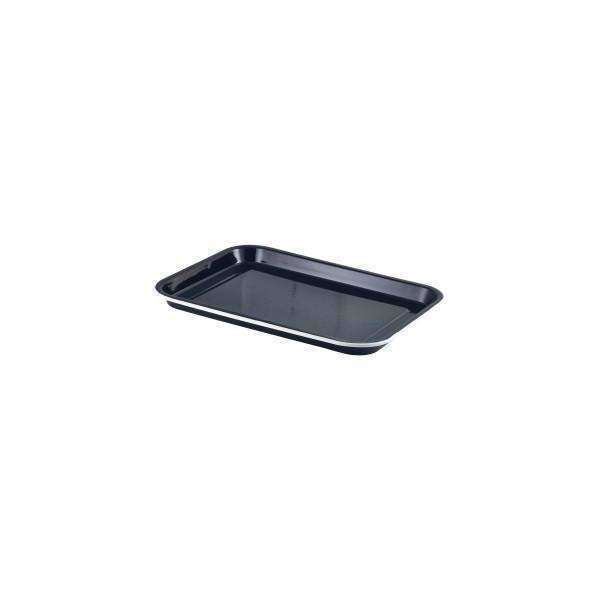 Enamel Serving Tray Black with White Rim 33.5x23.5x2.2cm