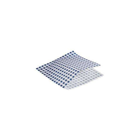Greaseproof Paper Bags Blue Gingham Print 17.5 x 17.5cm