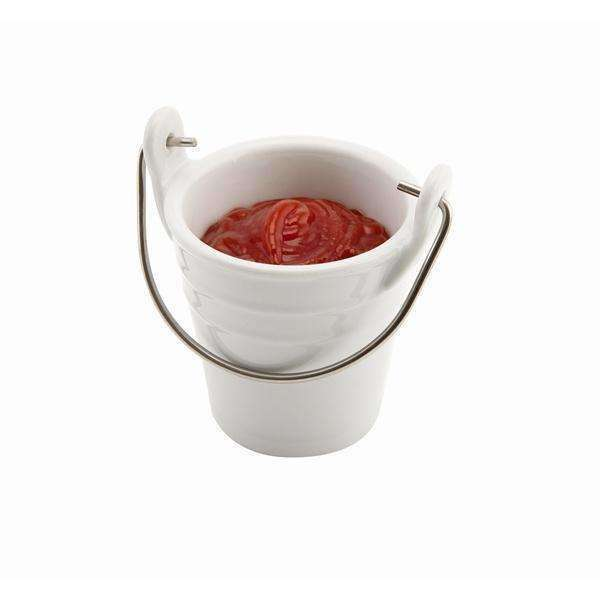 Porcelain Bucket W/ St/St Handle 6.5cm Dia 10cl