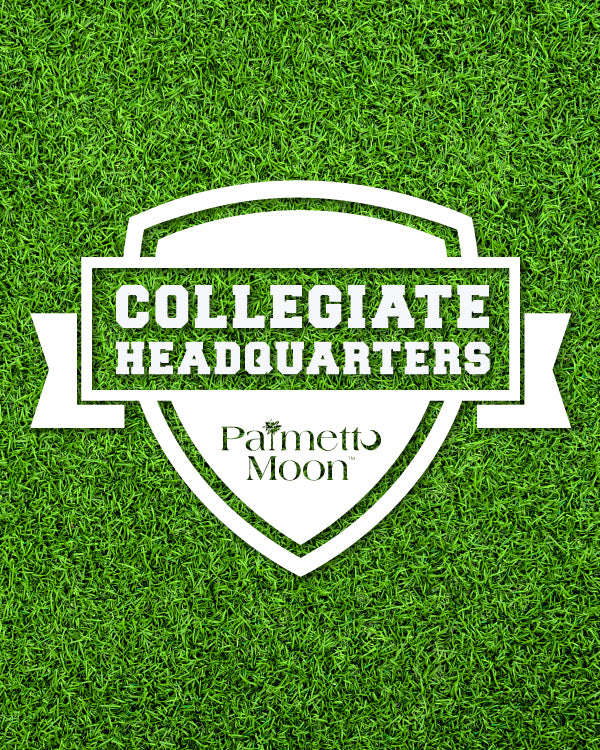 The Palmetto Moon Collegiate Headquarters logo over football field grass makes you want to gear up for gameday! Shop collegiate fan gear and apparel and rep your school spirit!