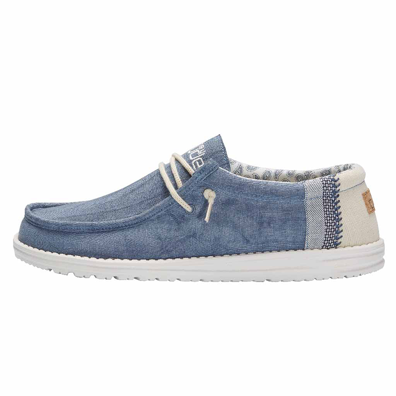 Men's Wally Linen Shoe in Natural Blue