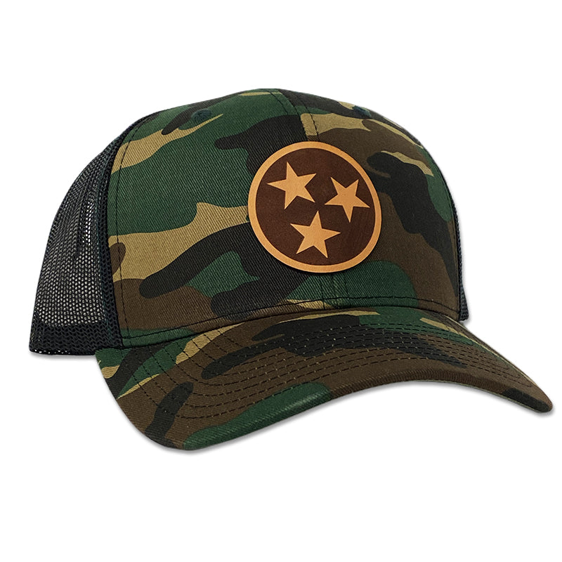 Tennessee Tri-Star Circle Leather Patch Hat