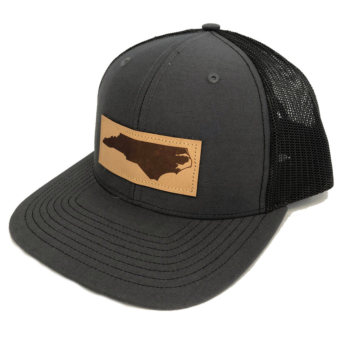 452354b1c2e ... North Carolina Square Leather Patch Hat in Charcoal and Black